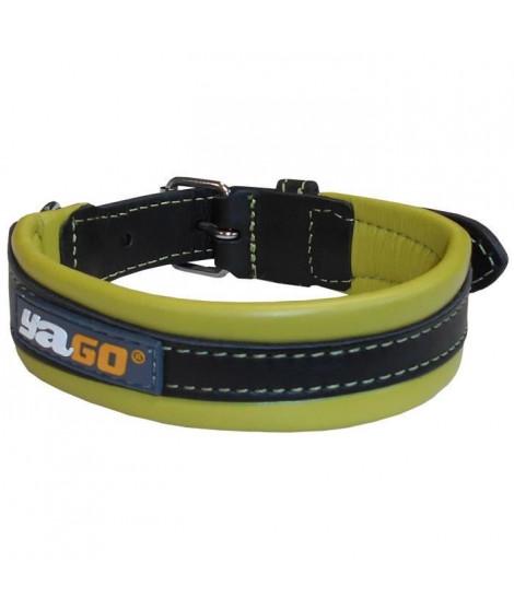 YAGO Collier en Cuir Noir et Vert Souple et Réglable pour moyen chien, taille M 34-43 cm