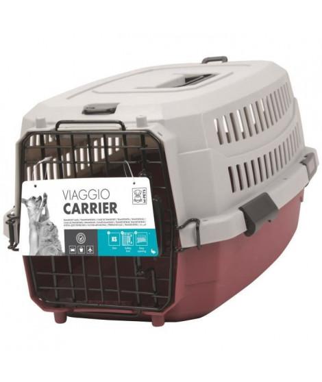 M-PETS Caisse de transport Viaggio Carrier S - 58,4x38,7x33cm - Bordeaux et gris - Pour chien et chat