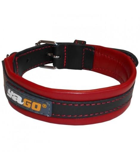 YAGO Collier en Cuir Noir et Rouge Souple et Réglable pour moyen chien, taille M 34-43 cm