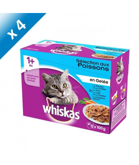 WHISKAS Sachets fraîcheur en gelée - Aux poissons - Pour chat adulte stérilisé - 12 x 100 g (x4)