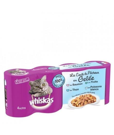 WHISKAS Gelée aux poissons - Pour chat - 4 x 390 g (x6)