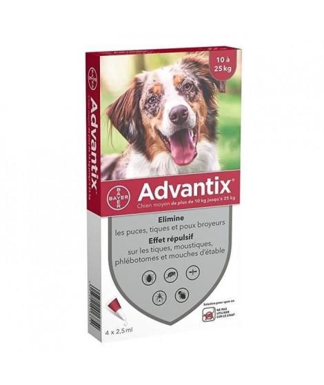 ADVANTIX 4 pipettes antiparasitaires - Pour chien moyen de 10 a 25kg