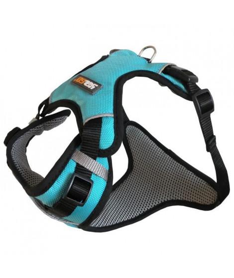 YAGO Harnais Sport pour Petit Chien, Couleur Bleu, Réglable Taille S 58-70 cm, Tissu waterproof imperméable