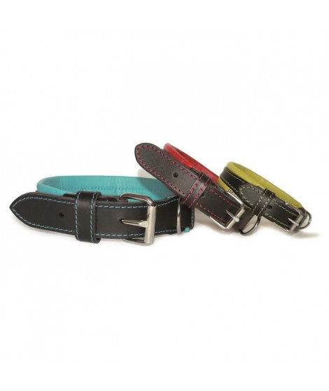 NUM'AXES Collier en cuir Every Day Life Coneck'T - Taille : M - Noir et bleu - Pour chien