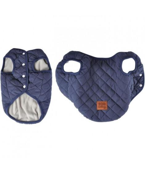 Doudoune James - Matelassée polyester double polaire - 40 cm - Bleu - Pour chien