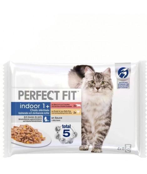 PERFECT FIT Lot de 13 Sachets fraîcheur en sauce boeuf poulet Indoor - Pour chat d'intérieur - 4 x 85 g