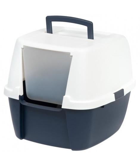 IRIS OHYAMA Maison de toilette Jumbo Cat Litter Box - Plastique - 53,3 x 45,7 x 43,1 cm - Bleu marine et blanc - Pour chat