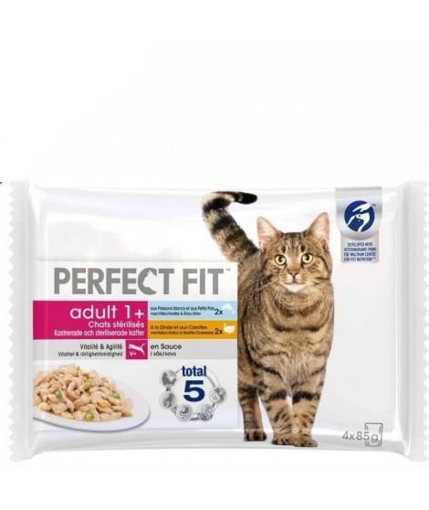 PERFECT FIT Lot de 13 Sachets fraîcheur en sauce poisson dinde - Pour chat stérilisé - Adulte - 4 x 85 g