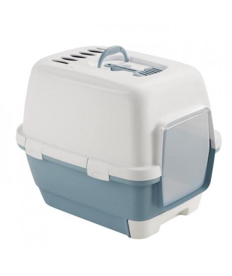 ZOLUX Maison de toilette avec tiroir amovible 58,5 x 44,5 x 48 cm - Bleu acier - Pour chat