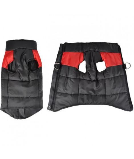 Doudoune Jack - Polyester - 35 cm - Bicolore rouge et noir - Pour chien