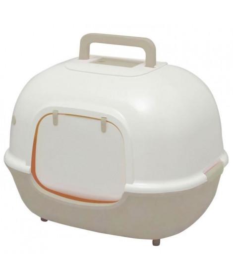 IRIS OHYAMA Maison de toilette Hooded Cat Litter Box avec pelle - WNT-510 - Plastique - 51 x 40 x 39 cm - Beige - Pour chat