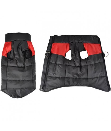 Doudoune Jack - Polyester - 40 cm - Bicolore rouge et noir - Pour chien