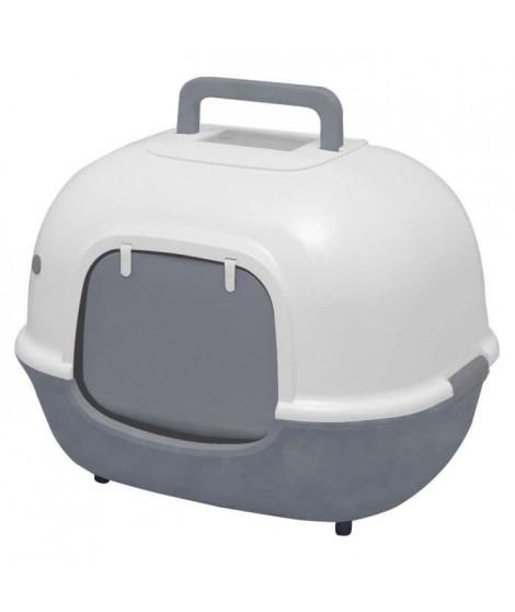 IRIS OHYAMA Maison de toilette Hooded Cat Litter Box avec pelle - WNT-510 - Plastique - 51 x 40 x 39 cm - Gris - Pour chat