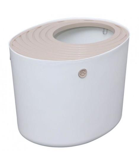 IRIS OHYAMA Maison de toilette Top Entry Cat Litter Box avec couvercle - PUNT-530 - Plastique - 53 x 41 x 37 cm - Blanc - Pou…