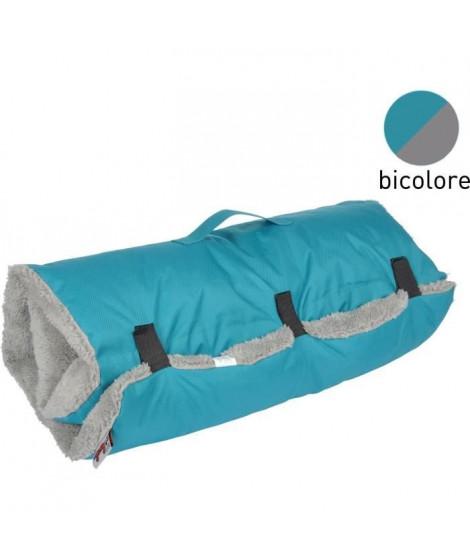 Matelas de voyage - Polyester et sherpa - 80 x 50 cm - Bicolore bleu et gris