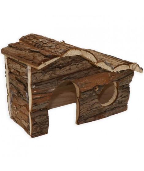 TYROL Chalet 100% écorce de cedre - 17 x 25 x 14 cm - Pour cobayes et petits rongeurs
