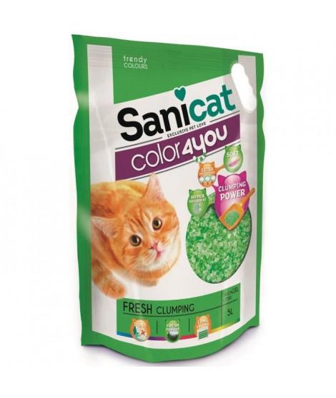 SANICAT Litiere agglomérante au parfum frais 5L - Verte - Pour chat