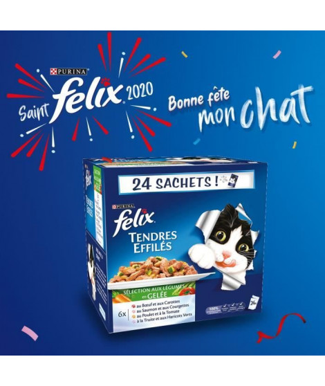 FELIX Tendres effilés en gelée - Viandes et poissons avec légumes - Sachets fraîcheur pour chat adulte - 24 x 100 g