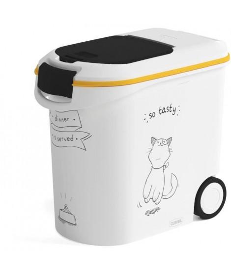 CURVER Conteneur de nourriture Le Diner est servi - 12 kg - 35 L - Blanc et noir - Pour chat