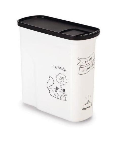 CURVER Conteneur de nourriture Le Diner est servi - 1 kg - 2 L - Blanc et noir - Pour chat