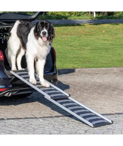 TRIXIE Rampe télescopique Petwalk - 40 x 102–170 cm - Noir et gris - Pour chien