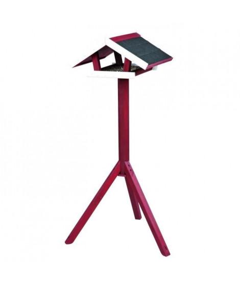NATURA Mangeoire oiseaux avec pied 46 × 22 × 44 cm/1,15 m rouge blanc