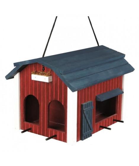 TRIXIE Mangeoire suspendue grange en bois - 24x22x32 cm - Rouge - Pour oiseaux