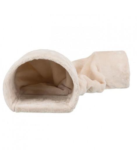 Tunnel douillet peluche - 27 × 21 × 80 cm - Beige - Pour lapins et petits rongeurs