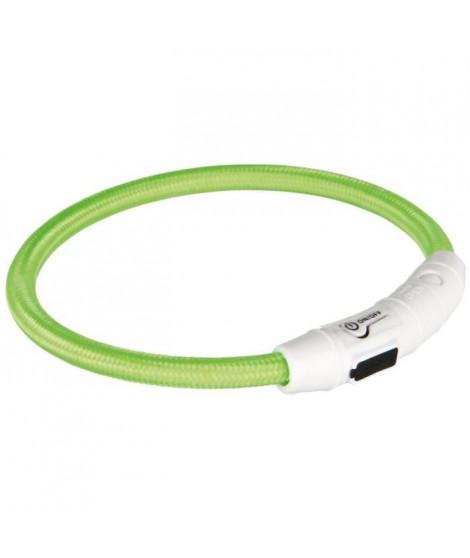 TRIXIE Flash Anneau lumineux USB M–L: 45 cm/ø 7 mm vert pour chien