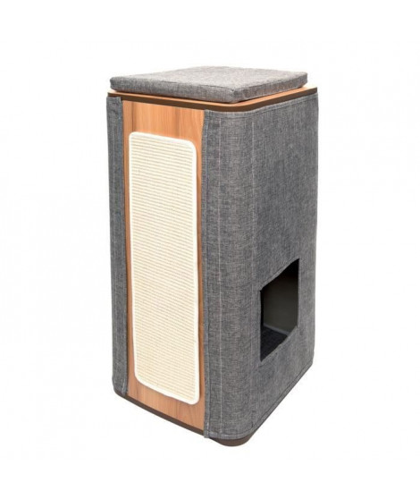 VESPER Arbre a chat en MDF - 42,5 x 87 x 42,5 cm - Gris pierre