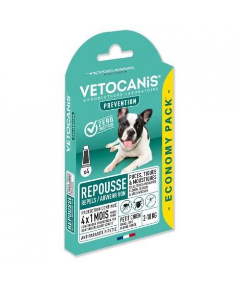 VETOCANIS 4 Pipettes anti-puces et anti-tiques - Pour petit chien 2-10 kg - 4x 1 mois de protection