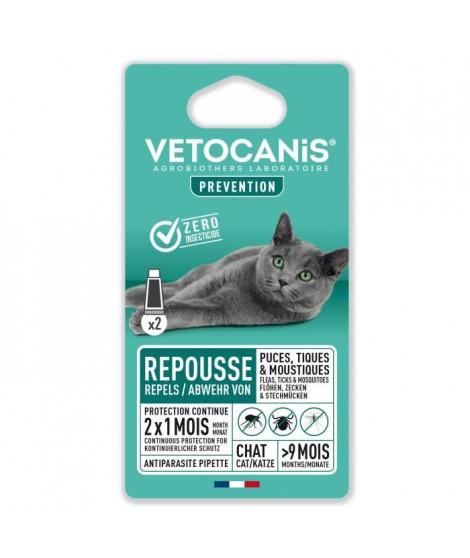 VETOCANIS 2 Pipettes anti-puces et anti-tiques - Pour Chat - 2x 1 mois de protection