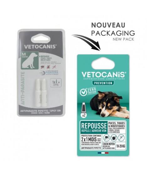 VETOCANIS 2 Pipettes anti-puces et anti-tiques - Pour chien 10-20 kg - 2x 1 mois de protection