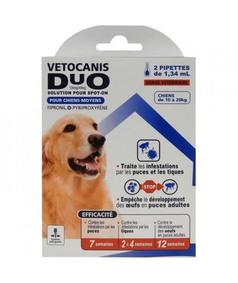 VETOCANIS Anti-puces et anti-tiques Duo Spot on - 2 pipettes - Efficacité 7 semaines - Pour moyen chien