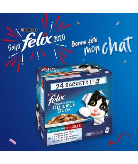 FELIX Tendres Effilés en gelée Délicieux Duos - Viandes et poissons - Sachets fraîcheur pour chat adulte - 24 x 100 g