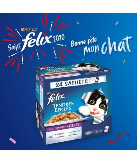 FELIX Tendres Effilés en gelée - Viandes et poissons - Sachets fraîcheur pour chat adulte - 24 x 100 g