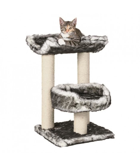 TRIXIE Isaba Arbre a chat Hauteur 62 cm noir et blanc peluche et sisal naturel