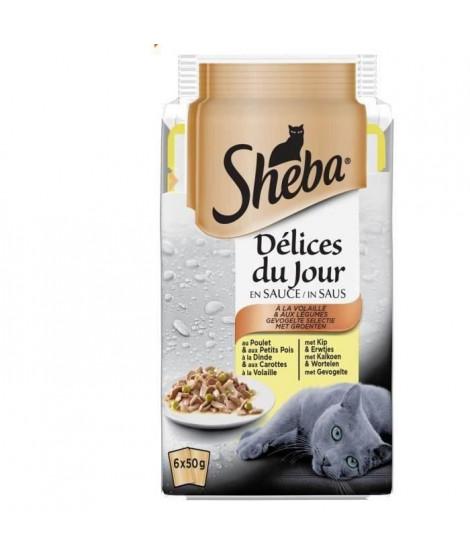 SHEBA Délices du jour sachets fraîcheur en sauce - A la volaille - Pour chat - 6 x 50 g (x12)