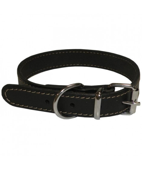 YAGO Collier en cuir Souple et Réglable pour petit chien, taille S 26-32 cm, Coloris Noir