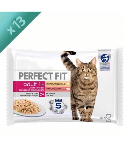 PERFECT FIT Sachets fraîcheur en sauce - 2 variétés - Pour chat adulte stérilisé - 4 x 85 g (x13)