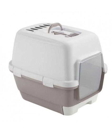 ZOLUX Maison de toilette avec tiroir amovible 58,5 x 44,5 x 48 cm - Gris rosé - Pour chat