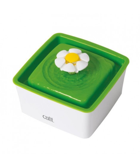CAT IT Abreuvoit mini avec fleur - 1,5 L (50,7 oz liq.) - Blanc et vert - Pour chat