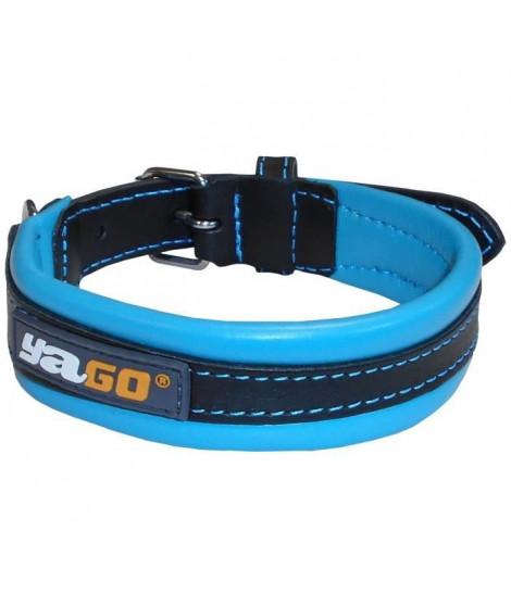 YAGO Collier en Cuir Noir et Bleu Souple et Réglable pour moyen chien, taille M 34-43 cm