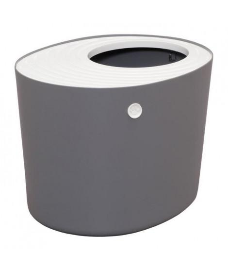 IRIS OHYAMA Maison de toilette Top Entry Cat Litter Box avec couvercle - PUNT-530 - Plastique - 53 x 41 x 37 cm - Gris - Pour…