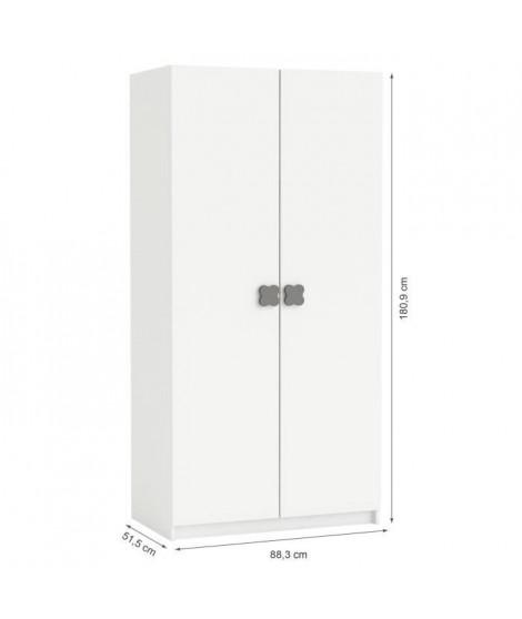 CLOVER Armoire 2 Portes Coloris Blanc Perle