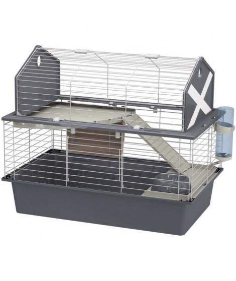 FERPLAST Cage Barn 80 - 78 x 48 x 65 cm - Gris - Pour lapin