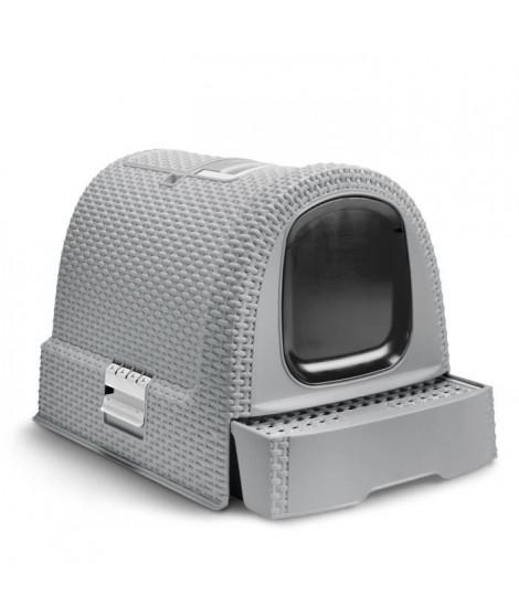 CURVER Maison de toilette pour chat - 51,5 x 38,5 x 40 cm - Aspect rotin