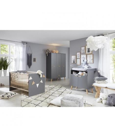 MATS Chambre bébé complete : lit 70*140cm + commode + armoire - gris anthracite