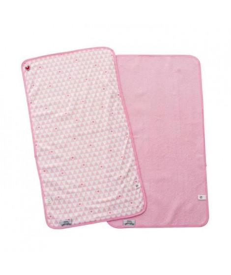 BABYTOLOVE Set de 2  serviettes a langer Pink Heart