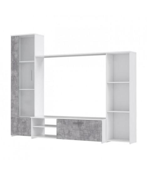 PILVI  Meuble TV - Blanc mat et béton gris clair - L 220,4 x P41,3 x H177,5 cm